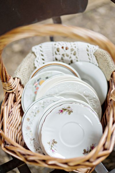 Peruse your local thrift stores for mix-and-match china to use as your cake plates.