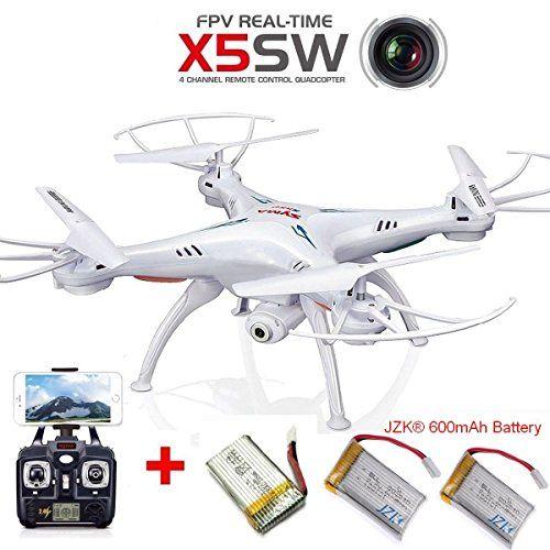 JZK® Syma X5SW WIFI FPV vivo tiempo real video cámara Dron Quadcóptero RC RTF UFO drone, con 3 baterías(1 batería original+2 baterías) blanco - http://www.midronepro.com/producto/jzk-syma-x5sw-wifi-fpv-vivo-tiempo-real-video-camara-dron-quadcoptero-rc-rtf