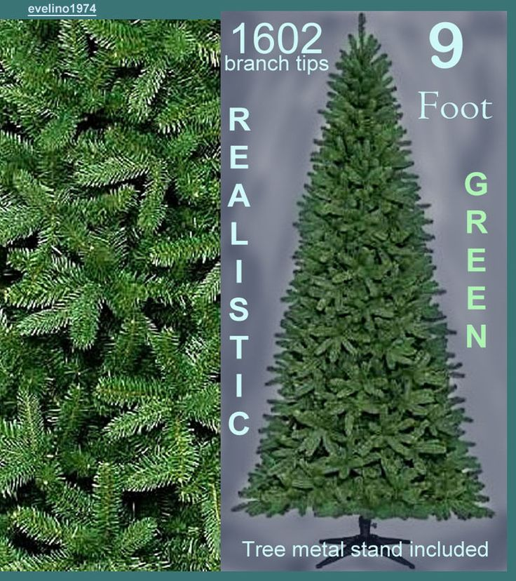 9'Premium Realistic Artificial Christmas Tree,Xmas Fir,Pine,1602Tips,Metal Stand #Unbranded