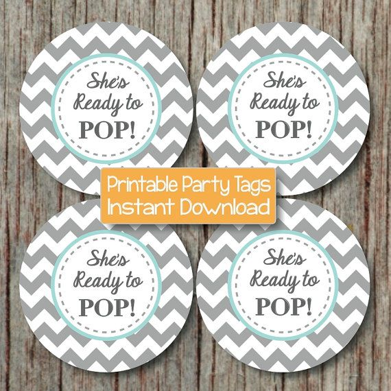 She39s ready to pop instant download boy baby shower favor tags printable party light teal grey for Ready to pop tags