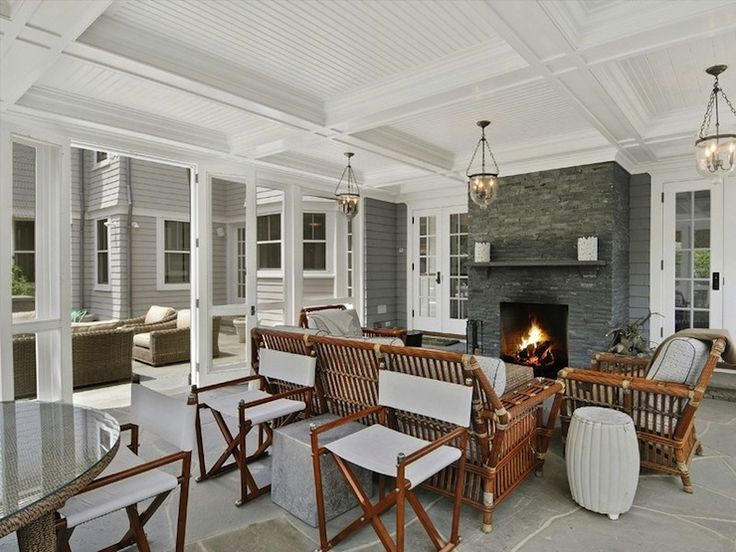 screened in porch, ceilings, fireplace