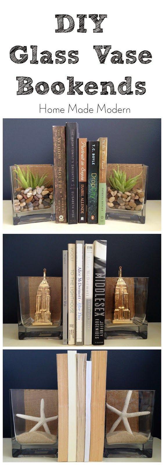 DIY Glass Vase Bookends – # Bookends #Decoration #DIY #Glass Vase