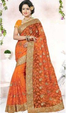 Designer Embroidery Orange Color Net Ethnic Wear Sarees   FH527280285 >>Follow Us @heenastyle <<< ------------------------------------ #traditionalwear #ethnicwear #ethniccollection #onlinesarees #photoshoot #model #designersarees #sari #designersaris #attractive #beautiful #classy #usa #newyork #newjersey #australia #italy #unitedkingdom #golden #womenscloth #womenfashion #weddingseason #weddingwear #bridalwear #heenastylesaree #sarees #blouses #party #designerblouses  #bollywood