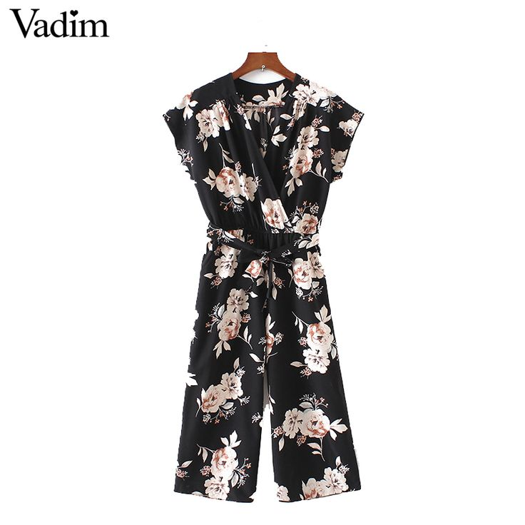 Vadim women vintage V neck floral jumpsuits wide leg pants sashes pleated elastic waist rompers summer casual playsuits KZ926  Price: 27.92 & FREE Shipping  #sale #discount #shop #2018