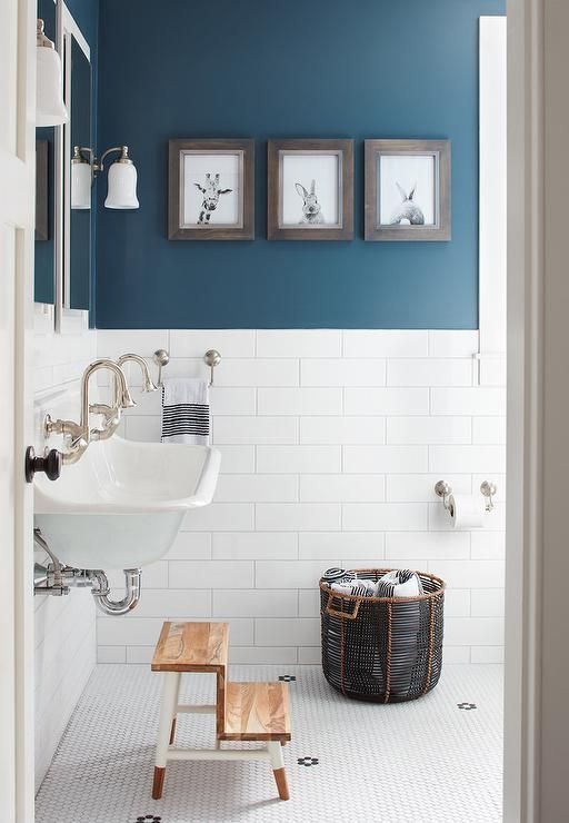 Boy Bathroom With Peacock Blue Wall Paint Color   Transitional   Bathroom    Benjamin Moore Newburg Green