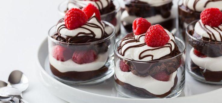 Mini Chocolate Raspberry Brownie Trifles