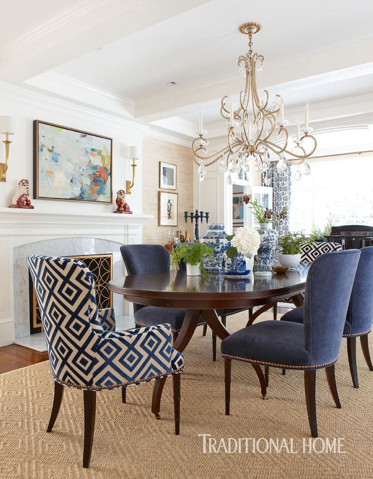 Blue And White DR With Chinoiserie And Patterned Head Chairs, Grass Cloth  Walls, Crystal Chandelier, Sisal Rug.