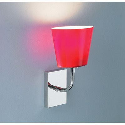 ILEX Salon 1 Light Wall Sconce Shade Color: Red Glass Shade, Finish: Architectural Bronze