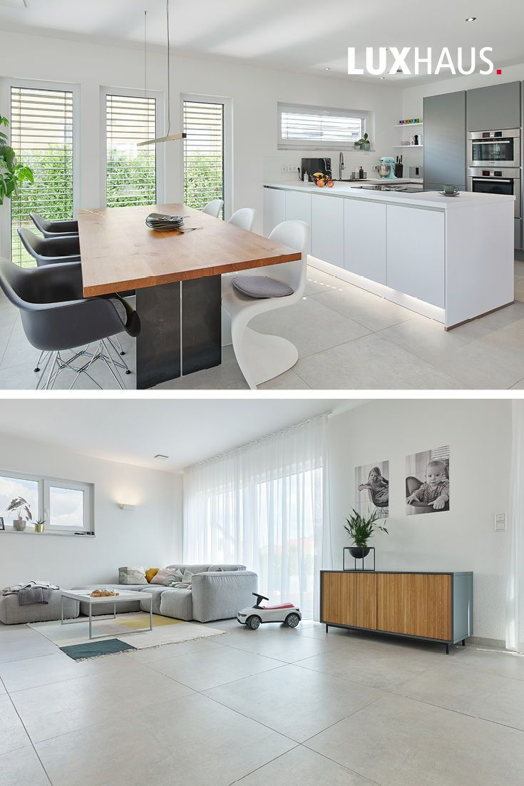 Offener Wohn Und Essbereich In Grau Weiss Holz In 2020 Moderne Kuche Wohnen Wohnzimmer Einrichten Ideen