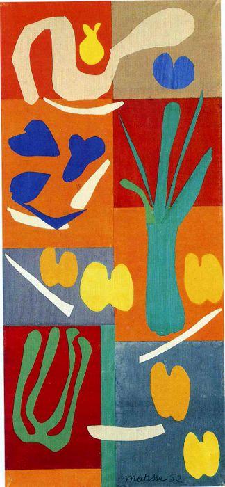 En esta obra de Henry Matisse podemos apreciar diferentes tipos de verduras creadas mediante collage. Sus colores son llamativos y contrastan con el fondo, eso hace que llamen la atención.