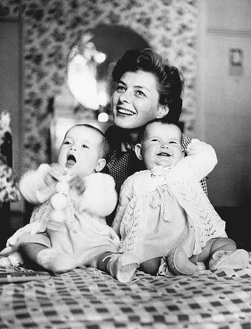 Ingrid Bergman with her twins Isabella and Isotta