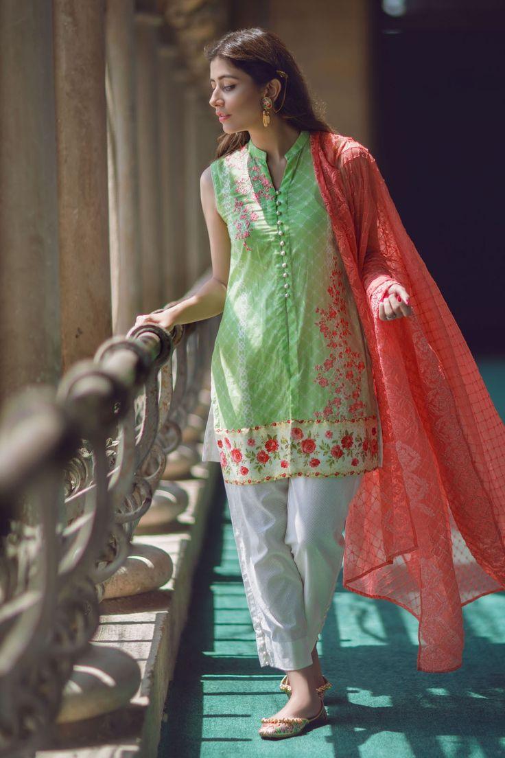 Shirt: Fabric: Embroidered Lawn Shirt Shalwar/Trouser: Fabric: Printed Trouser Dupatta: Fabric: Chiffon Dupatta.