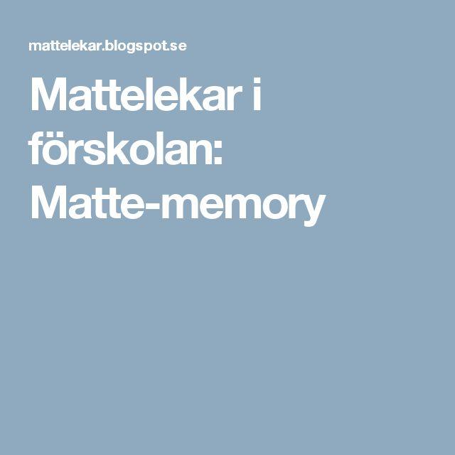 Mattelekar i förskolan: Matte-memory