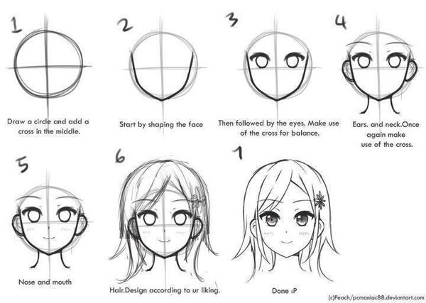 How To Draw Anime Characters Step By Step 30 Examples Anime Drawings Anime Head Manga Drawing