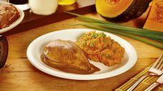 Filé de peito em bifes marinado com shoyu e leite de coco e purê de abóbora japonesa - HOJE TEM FRANGO | Seara
