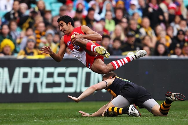 Sydney Swans AFL player Trent Dennis-Lane gathers the ball to score a spectacular goal against the Richmond Tigers at the SCG in Sydney. Picture: Brett Costello