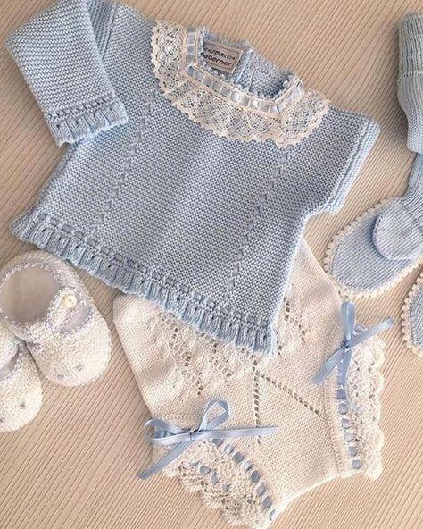 3dd3a4080 tutorial jersey bebé de punto a dos agujas   Bebes   Sueter para ...