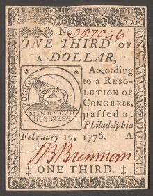 Colonial paper money from 1776