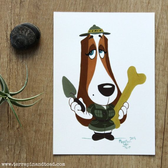 Basset hound paleontologist postcard by#TerrapinAndToad. A fun, brightly coloured cartoon basset hound postcard. For paleontologists, dog lovers and explorers.