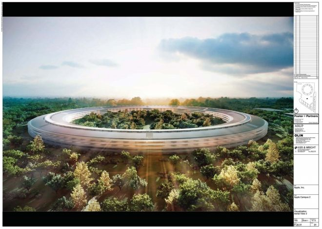 Apple's Proposed 'Spaceship' Campus   :Arup North America, Fosters + Partners, OLIN Landscape Architecture and Urban Design, Kier & Wright.