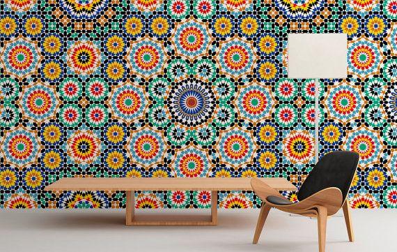 Wall Mural - Moroccan - Repositionable Adhesive Fabric - Self-Adhesive Wall Covering - Peel And Stick - SKU: MorocMur