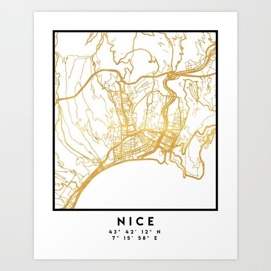 NICE FRANCE CITY STREET MAP ART | An elegant city street map of Nice, France in gold, with the exact coordinates of the city, make up this amazing art piece. A great gift for anybody that has love for this city. You can never go wrong with gold. I love my city.