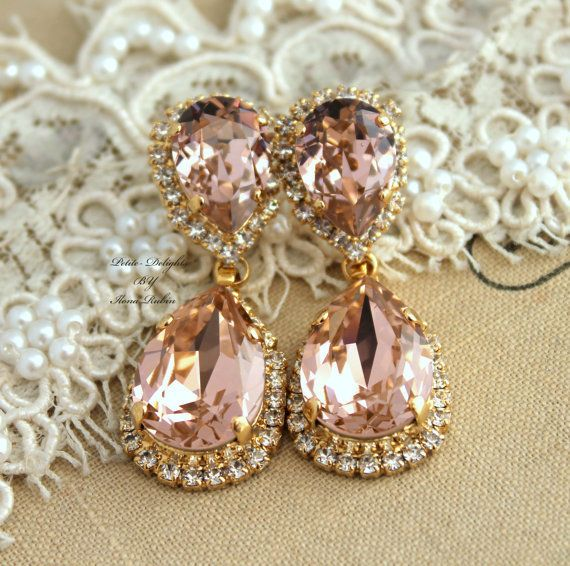 gold Wanelo Classic Swarovski swarovski Champagne earrings  wedding   clothing      pink   k on the Vintage Bridal outlet Chandelier jewelry   blush post Rhinestone earrings