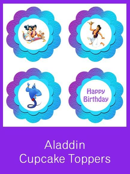 Aladdin Cupcake Toppers Free Pdf Download Party Ideas