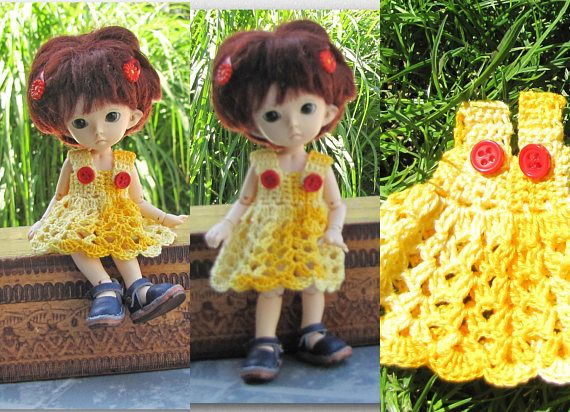 Crocheted costume for BJD Pukifee doll 15 cm FREE SHIPPING