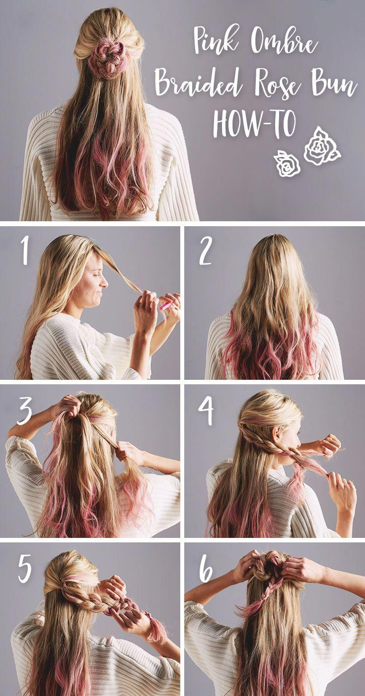A braided half top knot rose bun is the perfect hairdo for a Valentine's Day date (or a girls' night!). Add red or pink hair chalk to your tips fo…