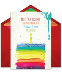 219 best free party invitations images on pinterest online free birthday party invitation with a rainbow cake design love this design for a birthday stopboris Gallery