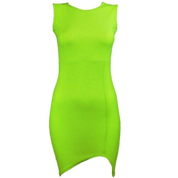 Womens Chloe Sleeveless Lime Green Bodycon Dress (STY) ($30) ❤ liked on Polyvore featuring dresses, sleeveless bodycon dress, green body con dress, lime dress, no sleeve dress and green bodycon dress
