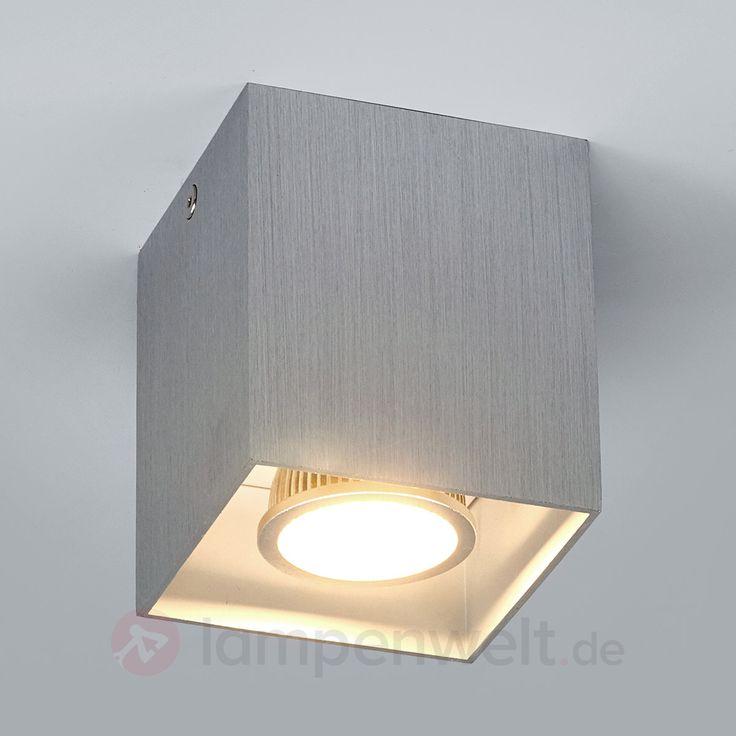 Alufarbene Aufbau-Deckenlampe Carson, eckig 9632021
