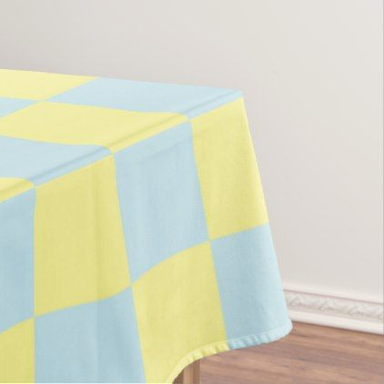 Checkered Soft Blue and Yellow Tablecloth - kitchen gifts diy ideas decor special unique individual customized