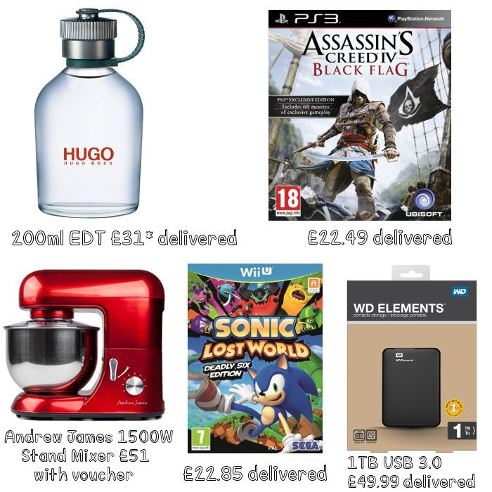 WD Elements 1TB USB 3.0 High Capacity Portable Hard Drive, Sonic Lost World Deadly Six Edition WII U, Assassin's Creed IV: Black Flag PS3, Hugo Boss Man 200ml EDT, BBC Natural History Collection Blu-ray Box Set, Hitachi 40 Inch Full HD LED TV, No7 Protect & Perfect Intense Collection, Andrew James 1500W Stand Mixer, Sony SRS-BTM8B Wireless Bluetooth Speaker with NFC. https://www.facebook.com/pages/Annas-Hot-Deals/179830868887567