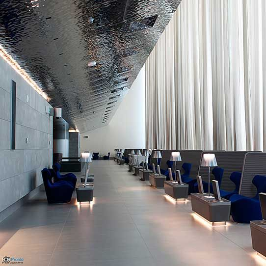 Hamad International Airport in Doha, Al Mourjan Business Lounge, Ceiling EXYD-M, Photo Noly Pronto Photography, 2014