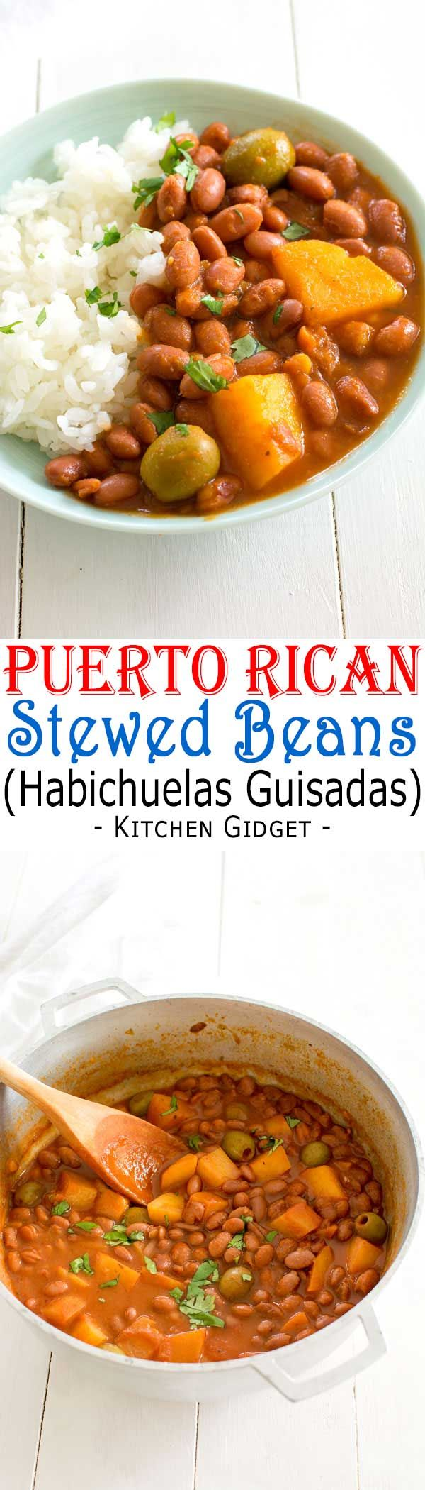 Puerto Rican Rice and Beans (Habichuelas Guisadas) | Easy recipe for authentic Puerto Rican style red beans and white rice!