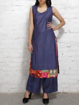 Blue Patchwork Long Slit Cotton Kurta