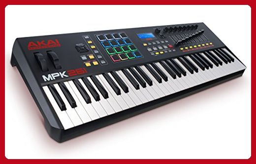 Akai Professional MPK261 | 61-Key USB MIDI Keyboard & Drum Pad Controller with LCD Screen (16 Pads / 8 Knobs / 8 Faders) - Fun stuff and gift ideas (*Amazon Partner-Link)