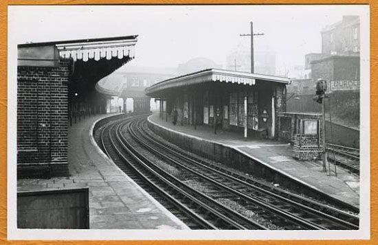 Westbourne Park Station, old terrace houses backing onto old railway line to Paddington GoodsYard