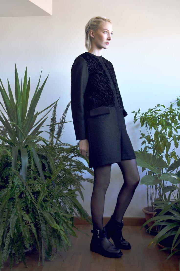 Aroma30 - Minimal chic Astrakan and wool coat