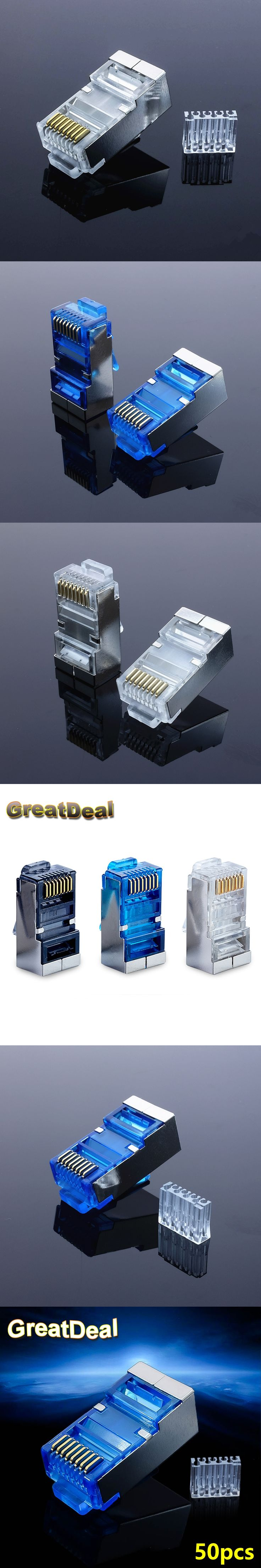 50pcs Blue Cat 6 rj45 connector cat6 network connector rj45 plug split type 8P8C stp metal shielded modular terminals HY1532