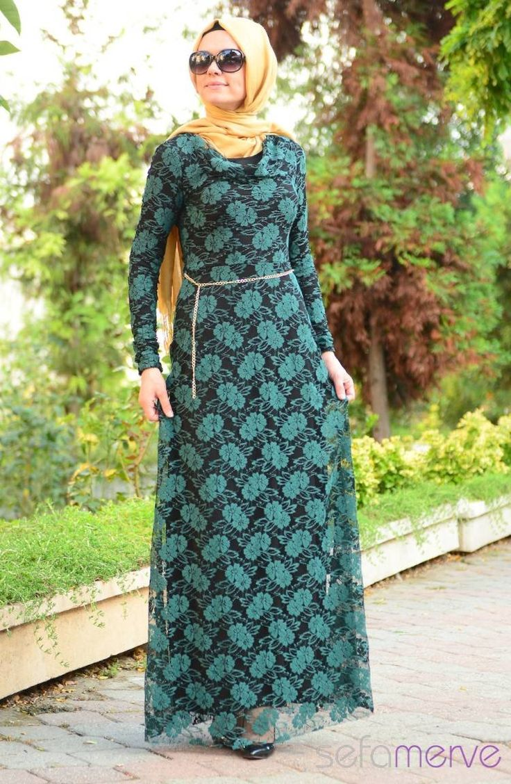 89.90 TL. Tesettür Elbise Yeşil #sefamerve #tesettur #tesetturgiyim…