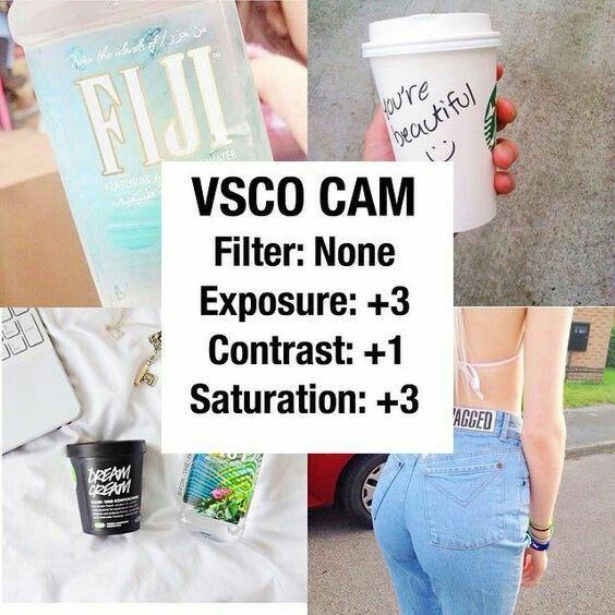VSCO CAM  No filtro  Exposicion: +3  Contraste: +1  Saturacion: +3