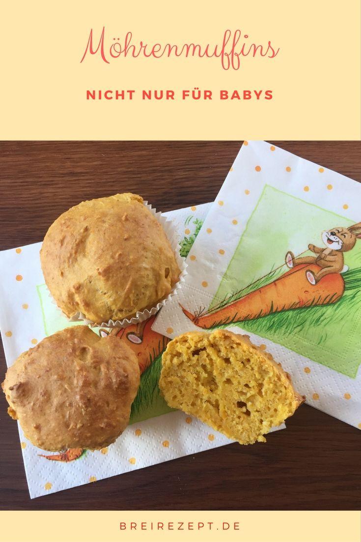 Vegane zuckerfreie Möhrenmuffins mit Apfel schmecken wunderbar saftig und eignen sich für das Baby als Zwischenmahlzeit oder im Rahmen von BLW bereits ab dem Beikostbeginn. Hier geht es zum Rezept, da (Mini Muffin Rezepte)