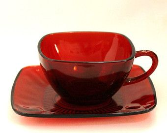 Anchor Hocking Royal Ruby Anchorglass Charm Red Glass Cup and Saucer (1963)