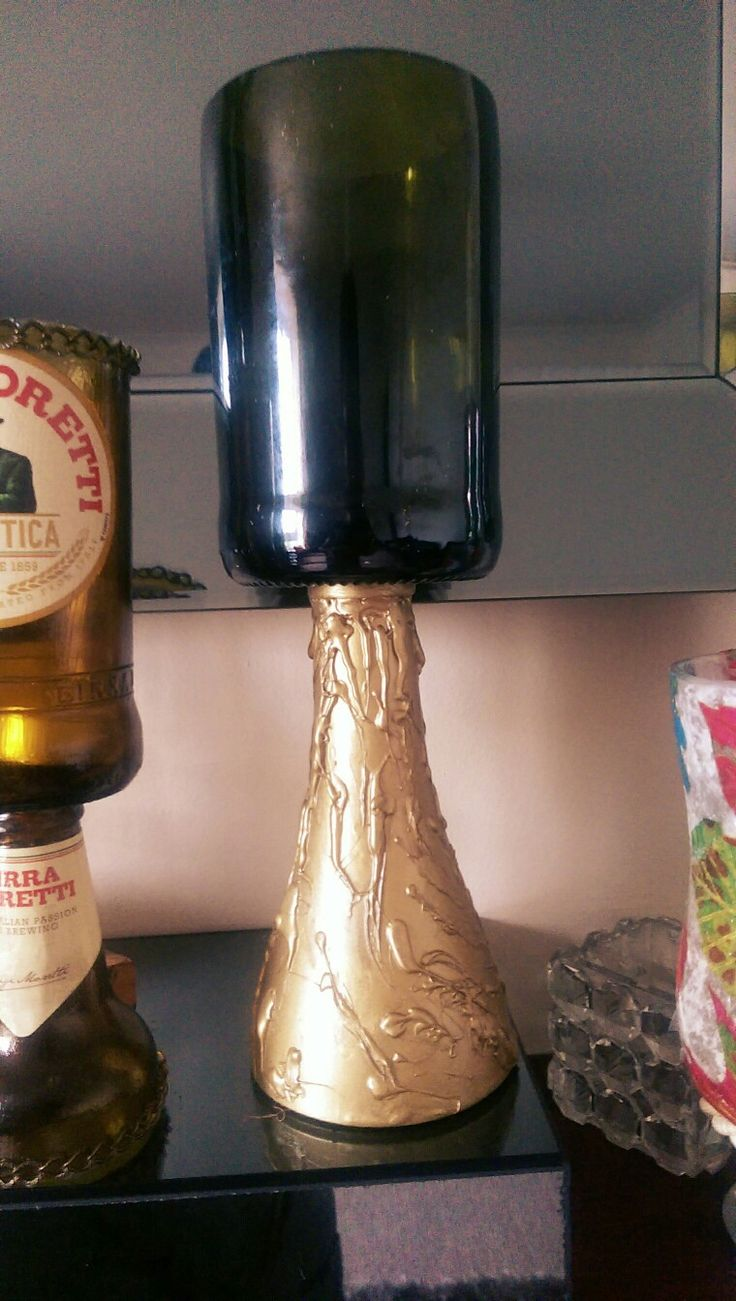 Prosecco bottle cut and decorated and can be used as a vase or candle holder...