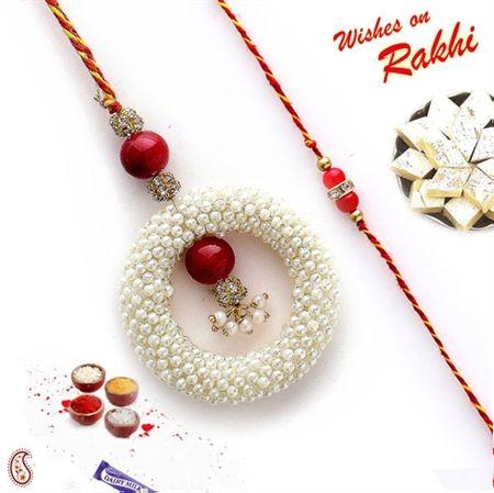 Picture of Pearl bead Hoop and stone Rakhi for Bhaiya and Bhabhi