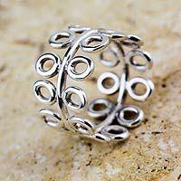Sterling silver band ring, 'Quechua Garden' by NOVICA