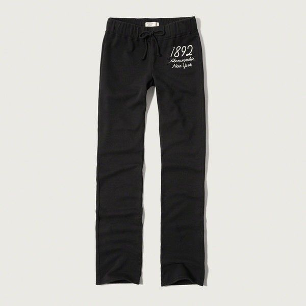 Abercrombie & Fitch Skinny Sweatpants ($29) ❤ liked on Polyvore featuring activewear, activewear pants, black, logo sportswear, sweat pants, fleece sweatpants, super skinny sweatpants and skinny sweat pants